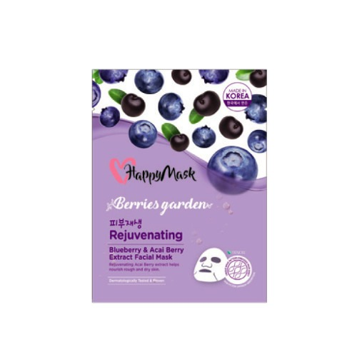 Happy Mask Berries Garden Blueberry & Acai Berry Extract Facial Mask (Rejuvenating)