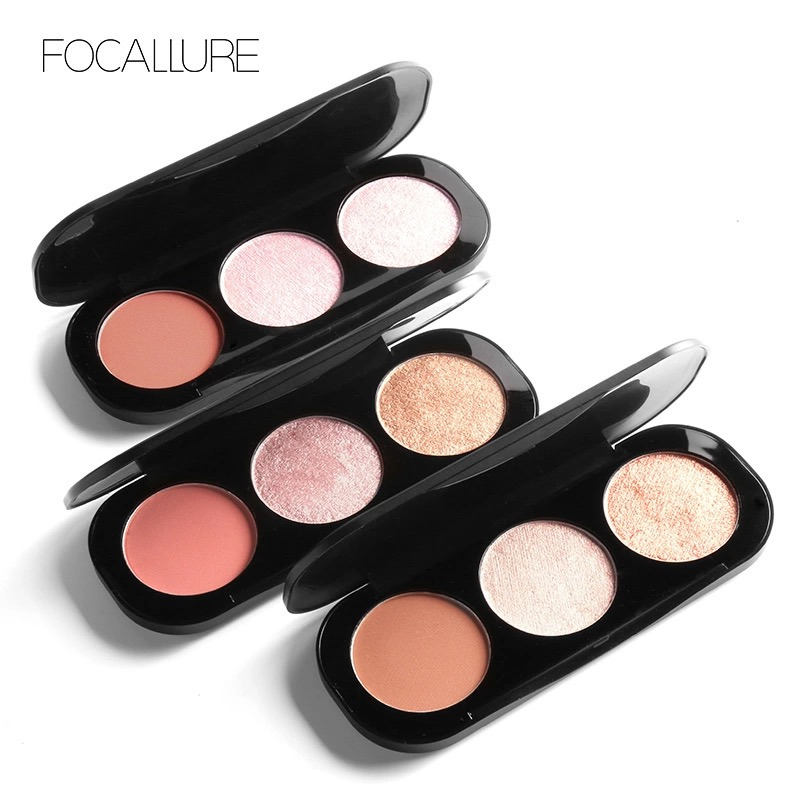 FOCALLURE 3 in 1 Blusher Highlighter Mini Palette-3 Combo