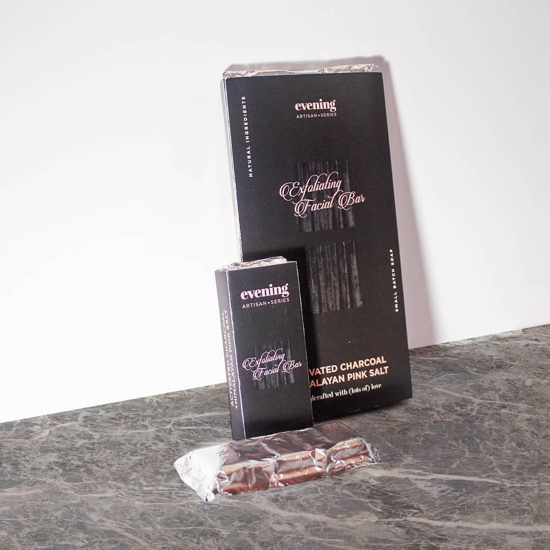 Evening Exfoliating Facial Bar Charcoal + Pink Salt