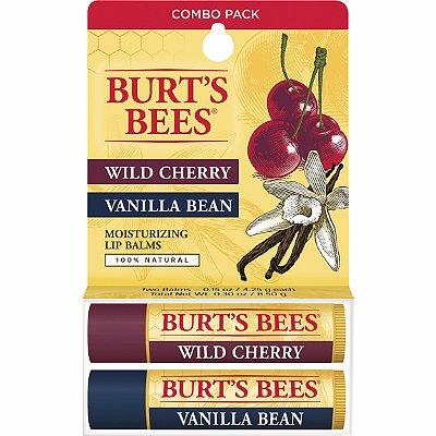 Burt's Bees Wild Cherry/ Vanilla Bean Moisturizing Lip Balms 2 Pk