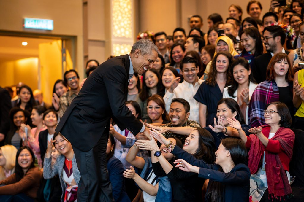 "President Barack Obama and Maya Soetoro-Ng have a discussion at the Obama Foundation Leaders: Asia in Kuala Lumpur, Malaysia on December 13, 2019. Please credit ""The Obama Foundation."" The photographs may not be manipulated in any way, and may not be used in commercial or political materials, advertisements, emails, products, or promotions that in any way suggest approval or endorsement by the Foundation, President Obama, or Mrs. Obama without the Foundation's prior written consent."