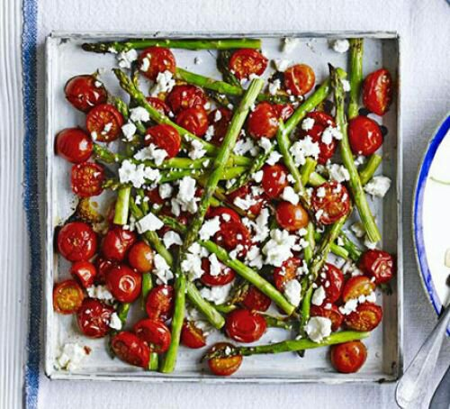Balsamic asparagus roasted with cherry tomatoes