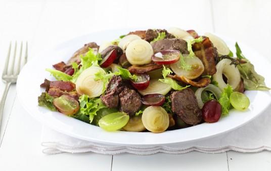 Warm Chicken Liver Grape Salad
