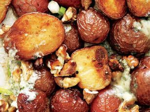 Roasted potatoes with blue cheese walnut butter