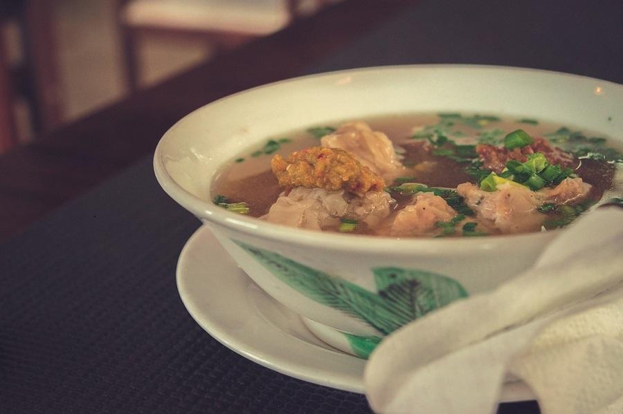 Thai dumplings soup