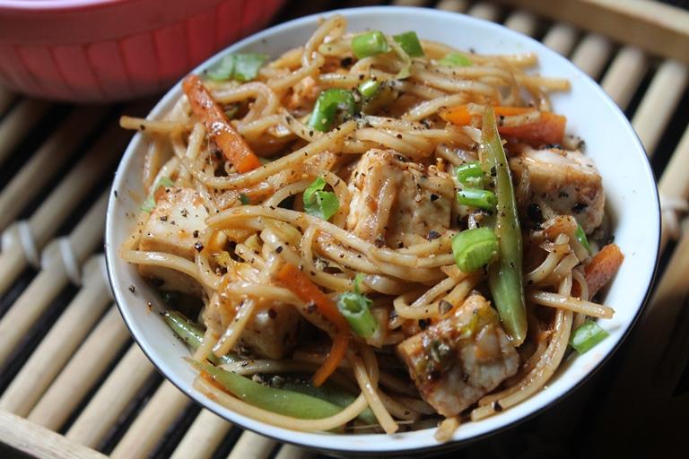 Mushroom paneer noodles