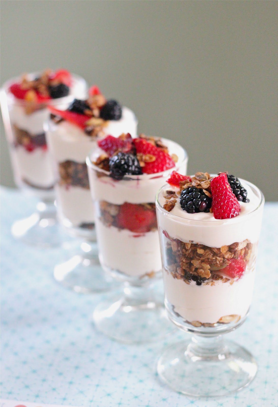 Yogurt and mixed berry parfait