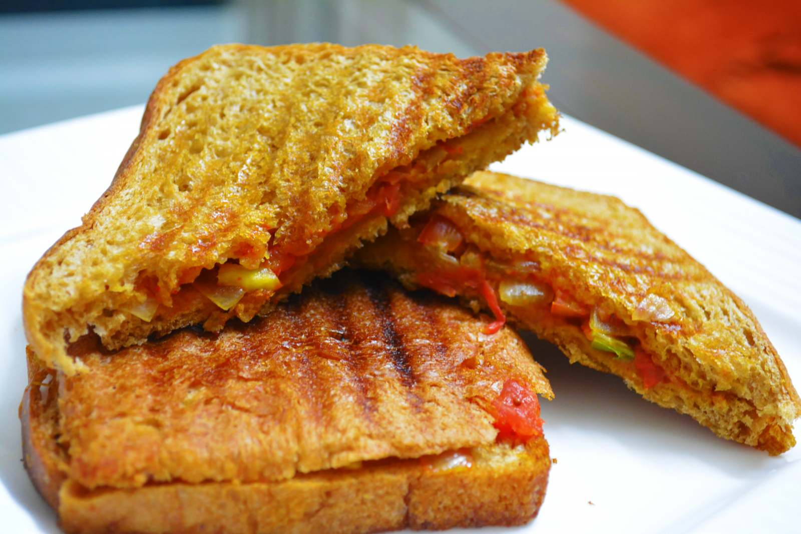 Grilled Tomato onion cheese sandwich