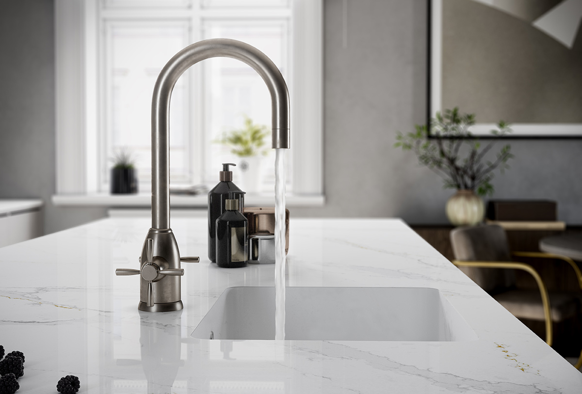 SquareRooms-Silestone-Calacatta-Gold-sink-tap-water-countertop-marble-look-quartz