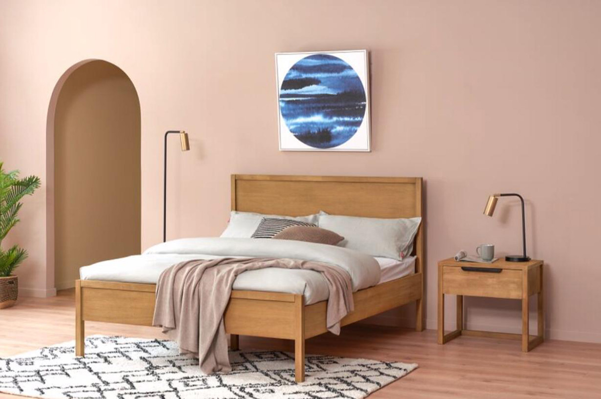 Pictured: Logan Bed, from $959 and Logan Bedside Table, $379.