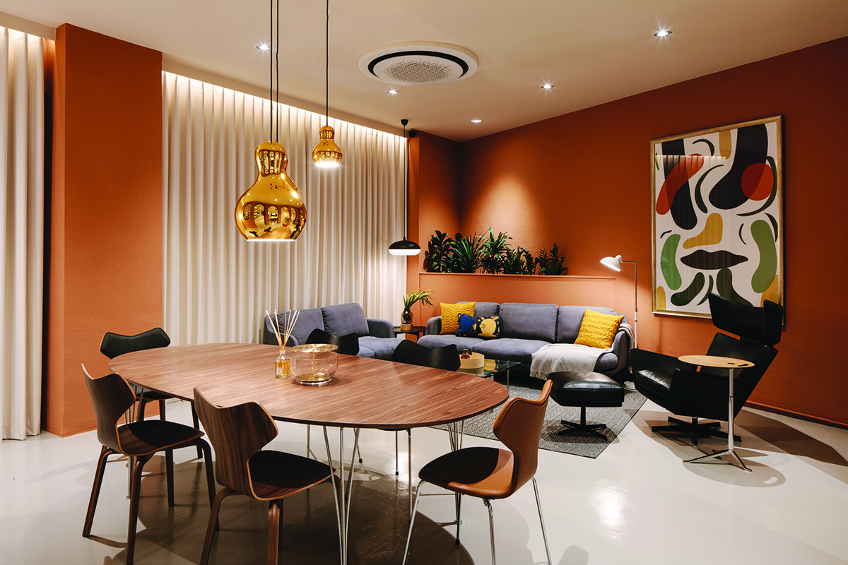 squarerooms-fritz-hansen-lighting-dining-room-orange-bright-colourful-eclectic