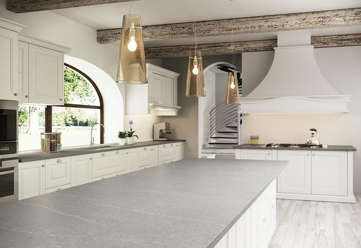 squarerooms-cosentino-kitchen-ceiling-lamps-golden-white-bright-big-island