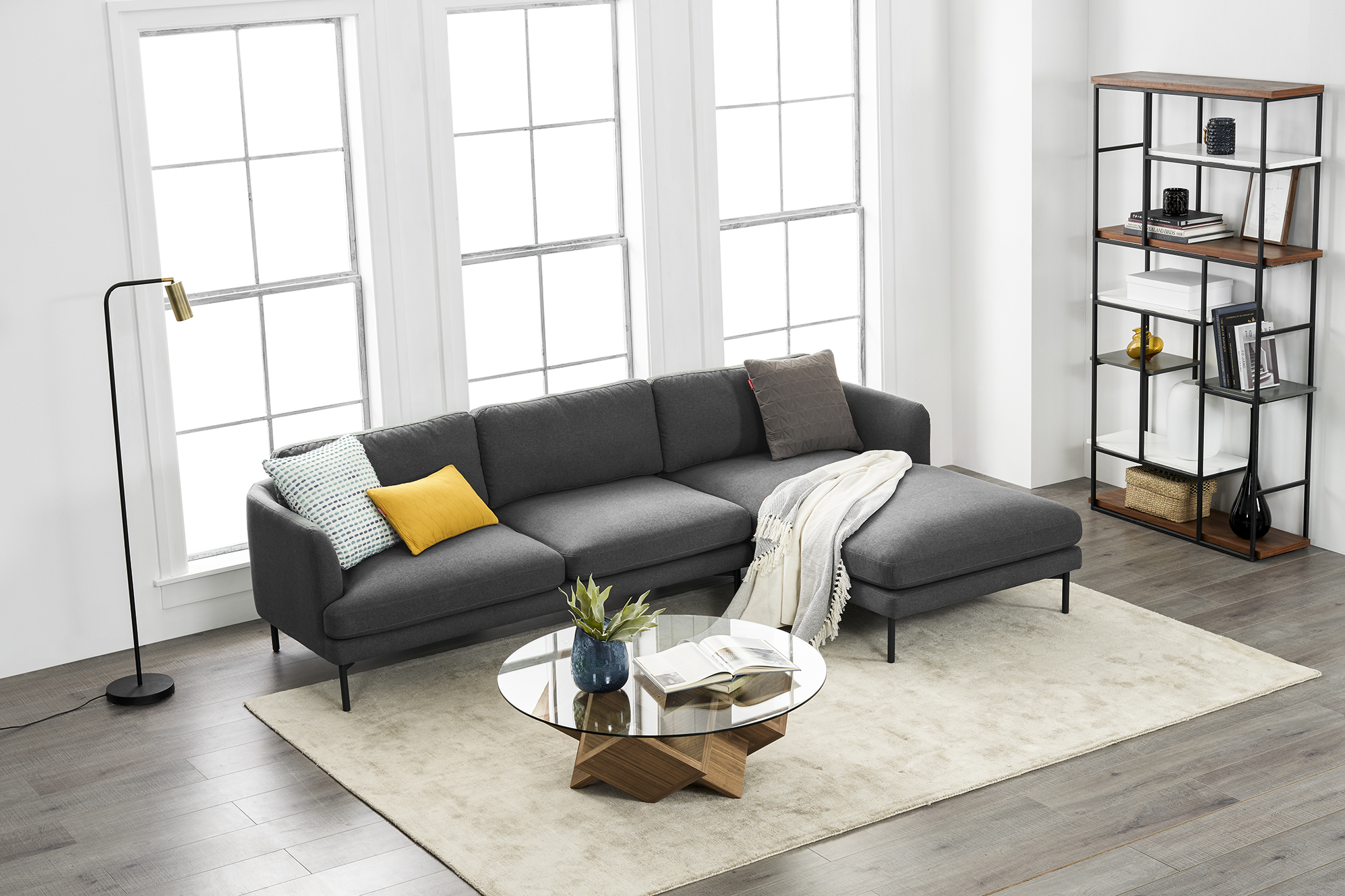 Pebble Sectional Right Chaise Sofa-Fumo-Grey-Set3