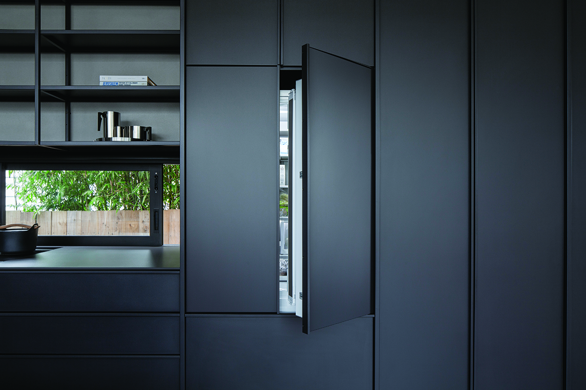 squarerooms-fisher-and-paykel-kitchen-dark-black-sleek-cabinet-open