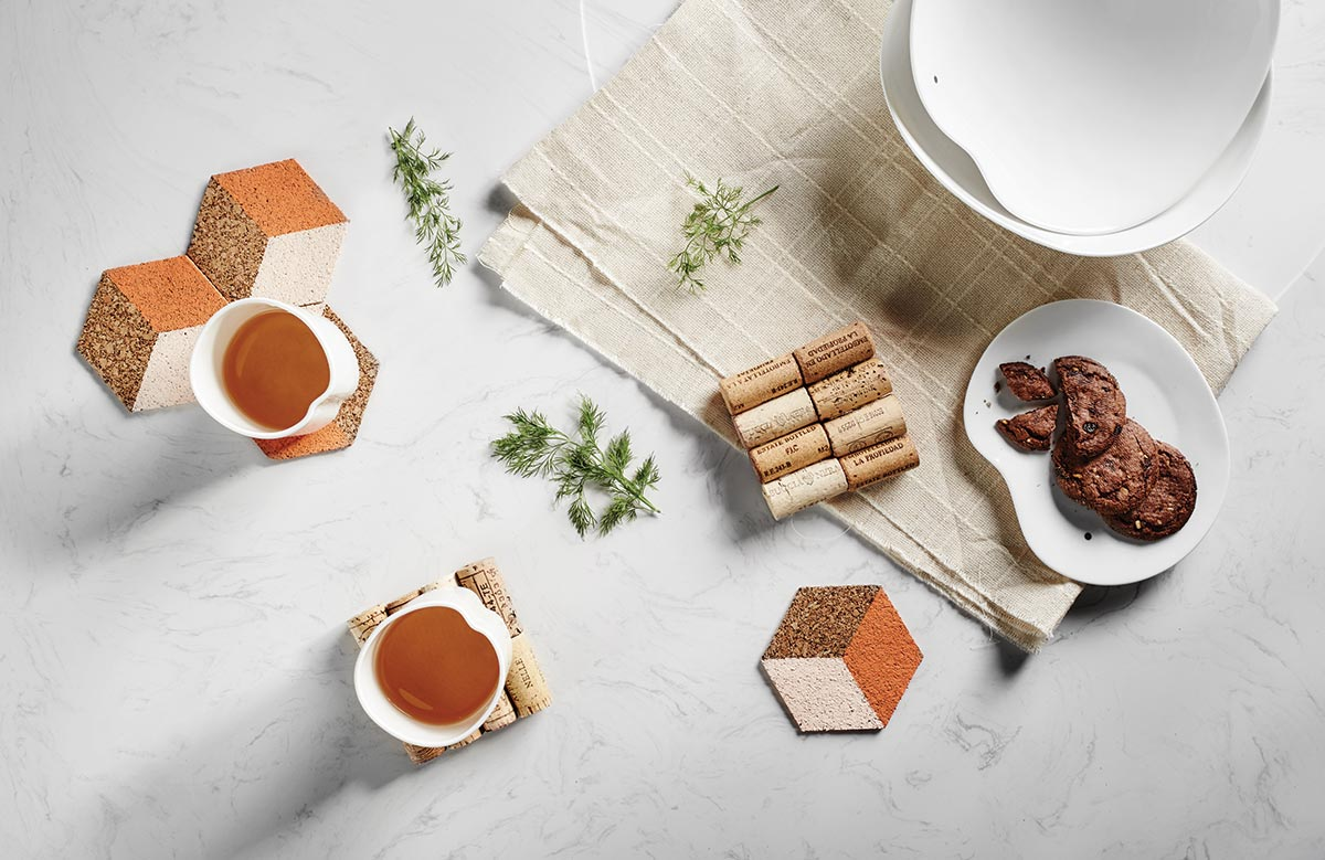 squarerooms-bottle-stoppers-cork-wine-coasters-diy-project-flatlay-cups-table-white