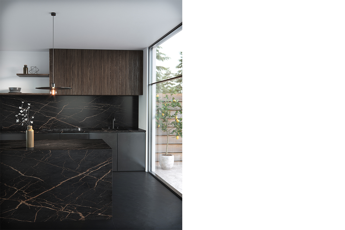 squarerooms-dekton-cosentino-counter-kitchen-black-dark-moody-veined-marble-quartz-island