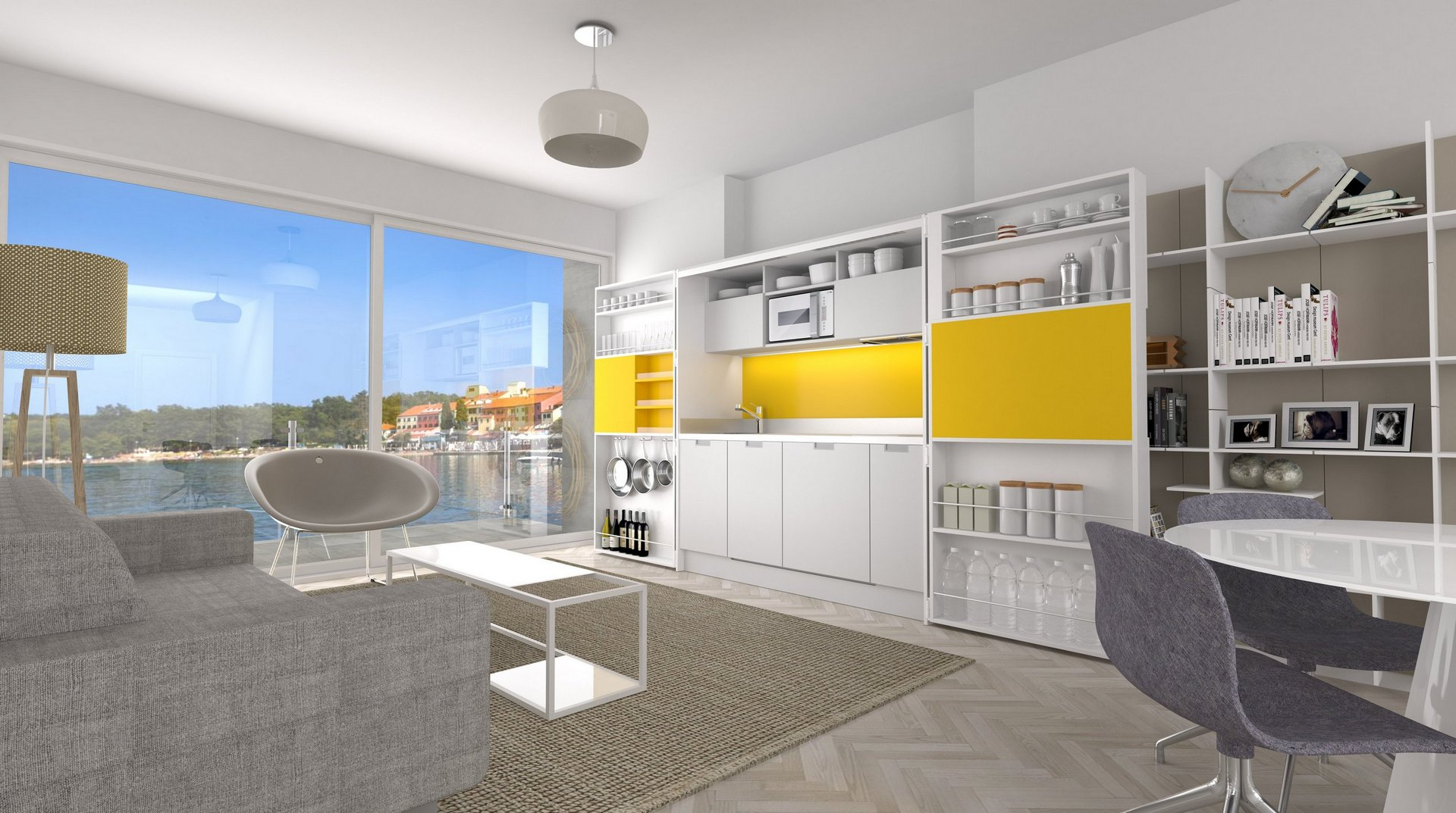 squarerooms-spaceman-compact-kitchen-3d-render-yellow-adaptable-retractable-expandable-furniture
