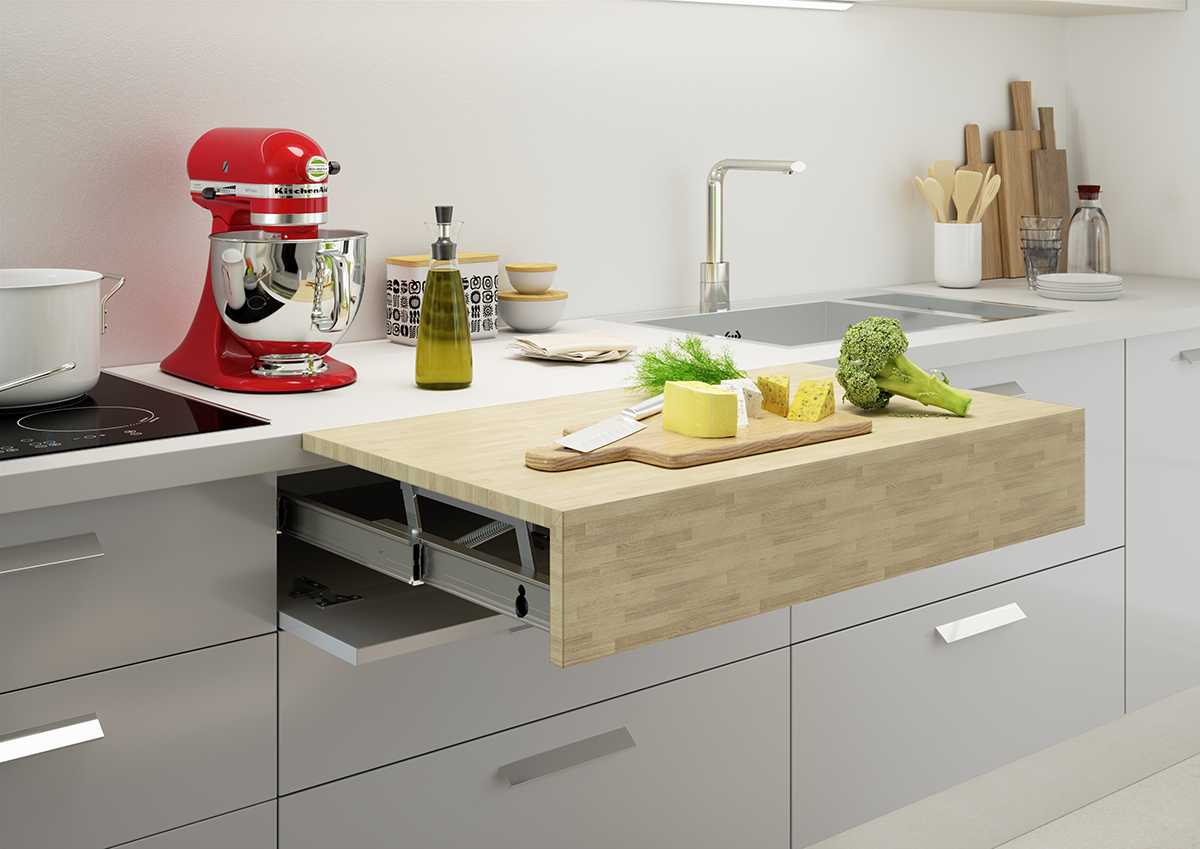 squarerooms-Atim Opla-Top-kitchen-countertop-wooden-expandable-retractable-functional-furniture-red-mixer-fruits