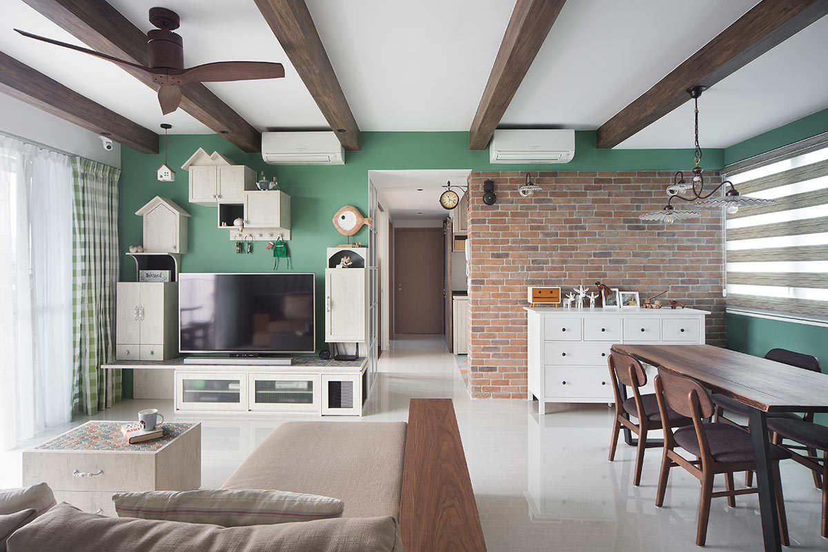 squarerooms-prozfile-interior-designer-singapore-home-living-room-view-pastel-green-wall-wooden-beams