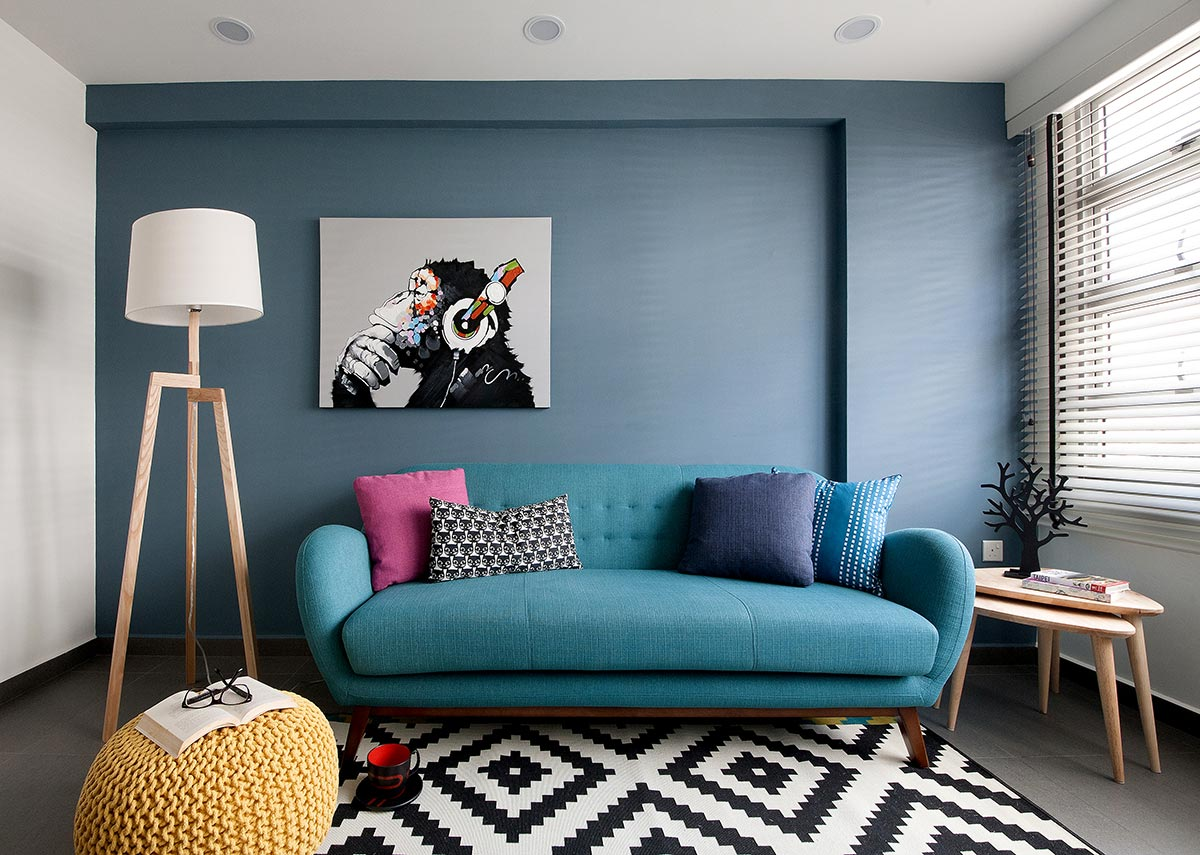 SquareRooms-brim-design-singapore-interior-living-room-bright-blue-couch-wall-artsy-quirky-room
