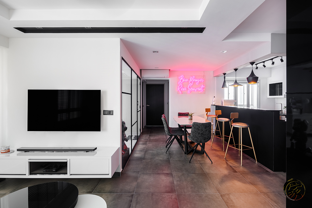 squarerooms-jialux-interior-living-dining-room-instagrammable-neon-lettering-sign-on-wall-pink-light-monochromatic