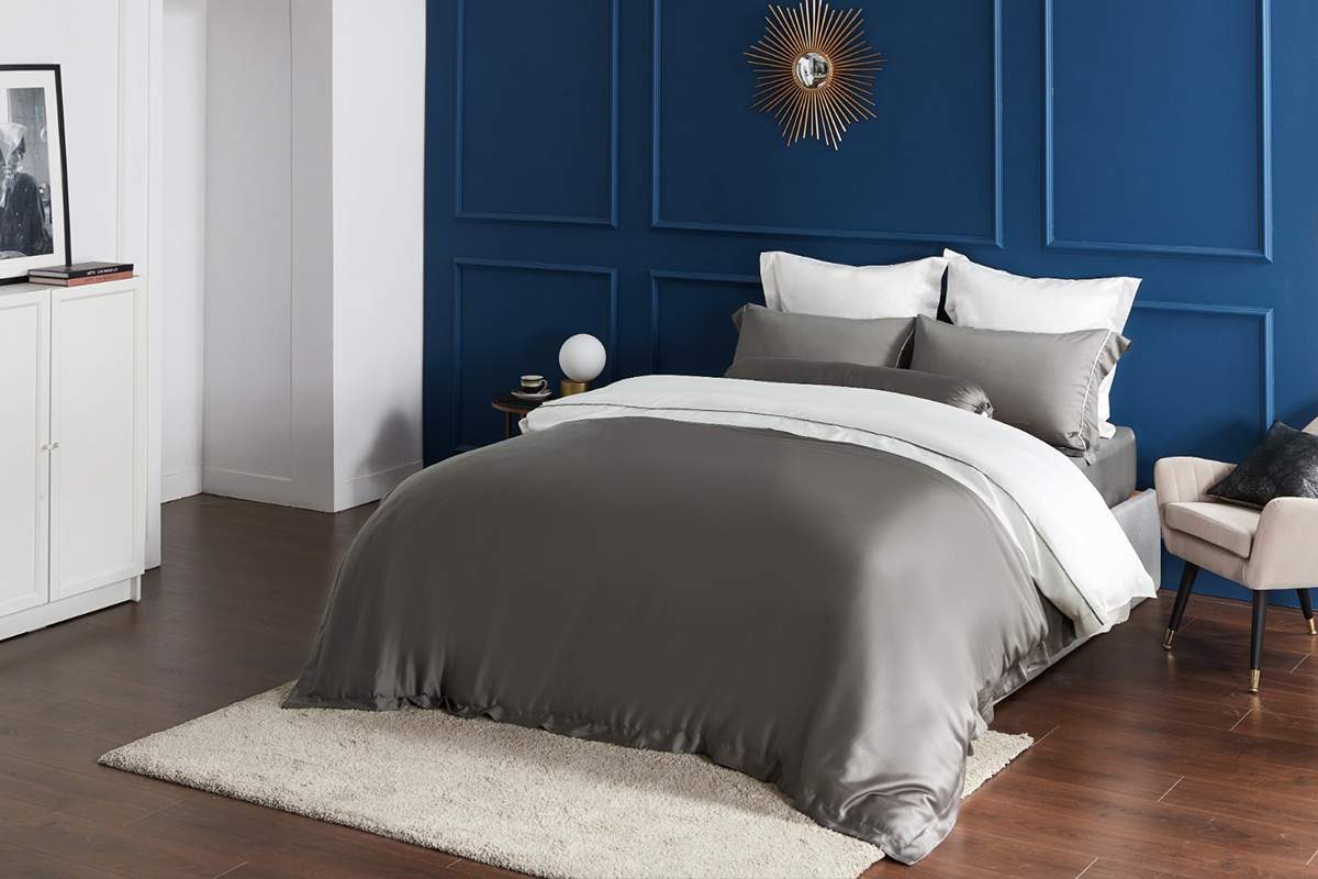 squarerooms-comfort-awards-bedding-bedding-affairs-bed-grey-sheets-blue-bedroom-wall