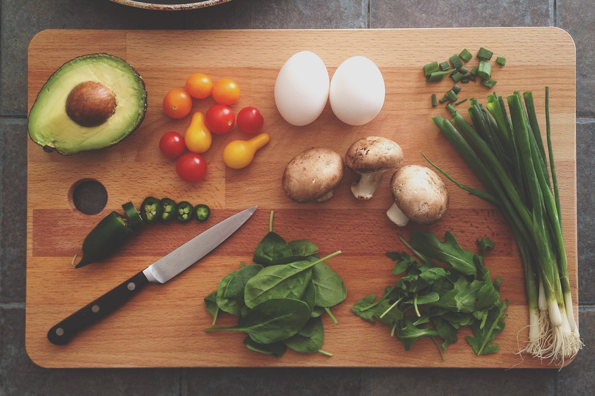 squarerooms wooden cutting chopping board knife food flatlay ingredients