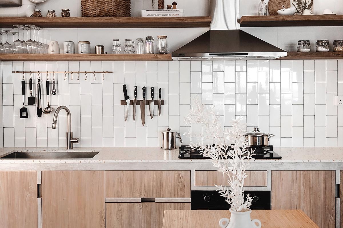 squarerooms monica anne lie kitchen counter wooden minimalist scandinavian white backsplash