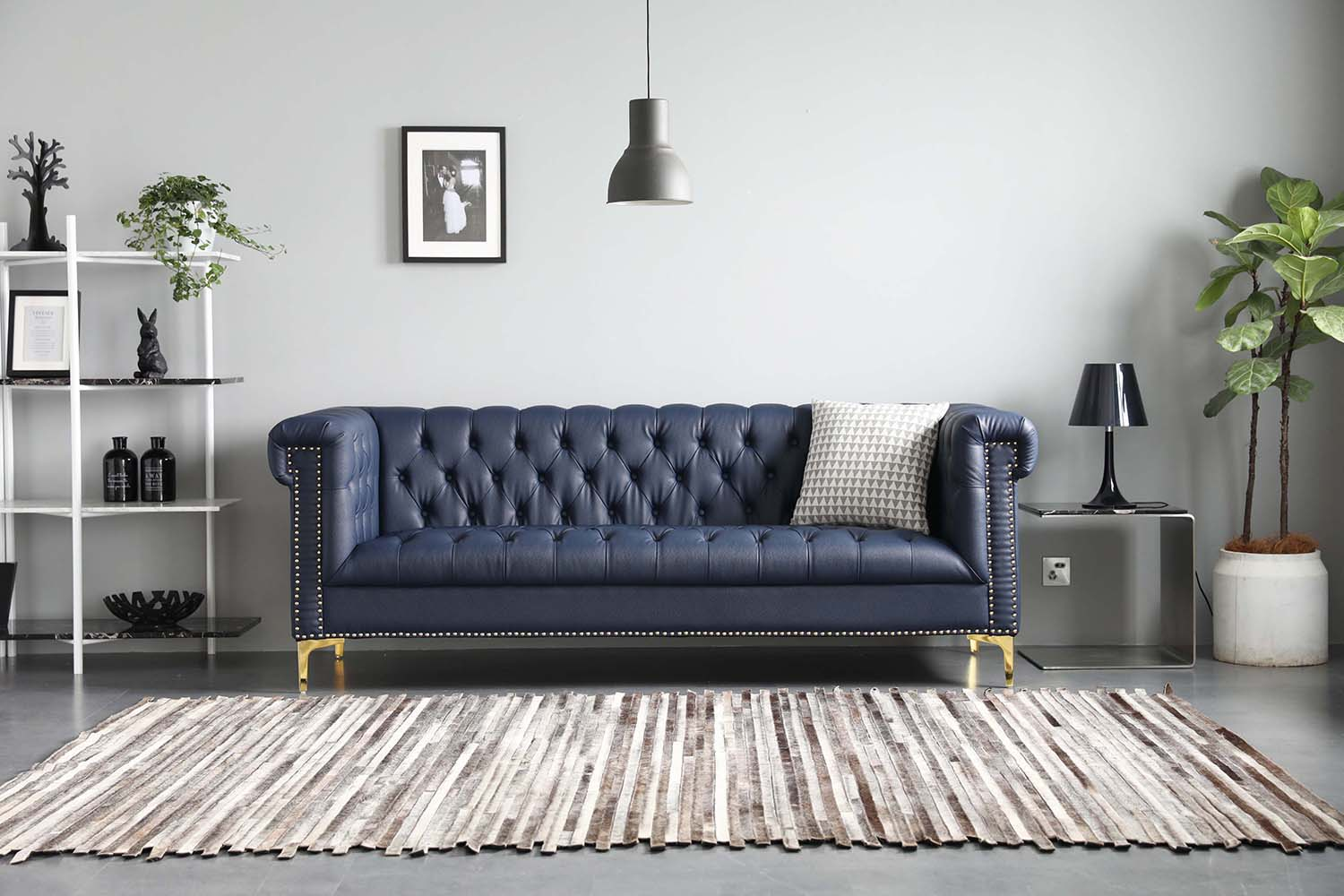squarerooms bed and basics blue chesterfield leather sofa couch living room