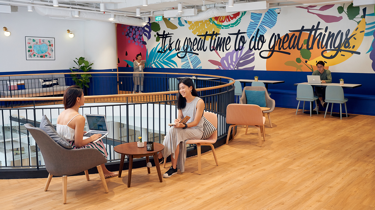 squarerooms JustCo co-working space neon vibrant singapore