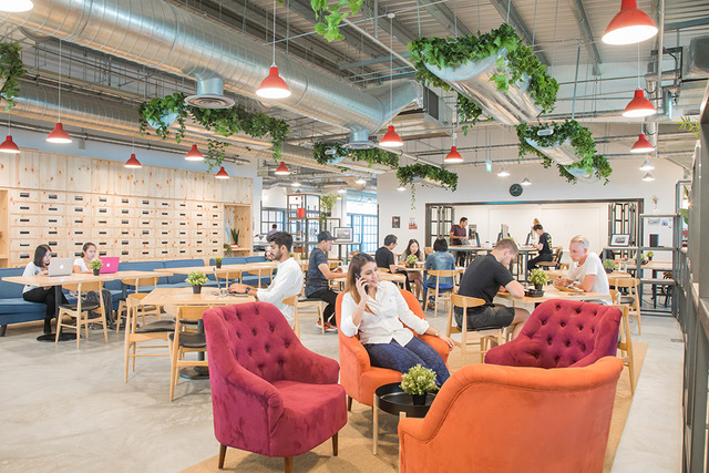 squarerooms the hive lavender cafe lounge red orange chairs coworking space kallang junction