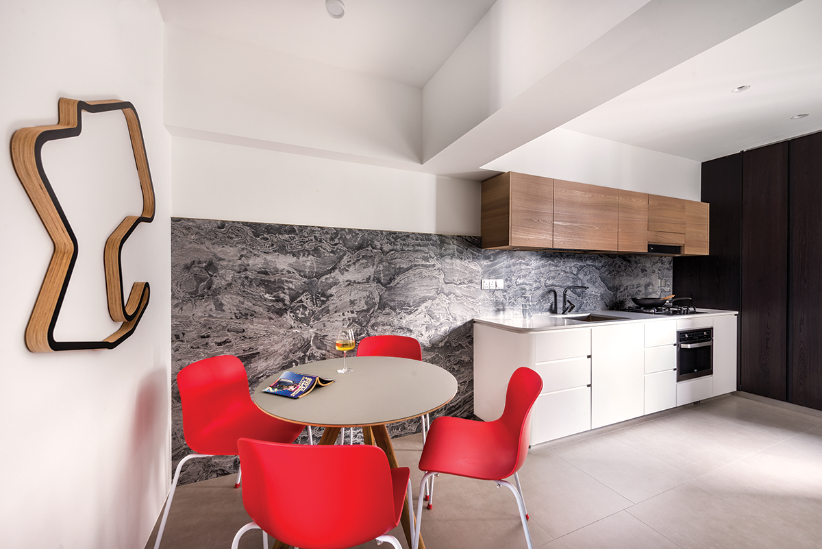 squarerooms artistroom 3 room hdb flat resale renovation urban edge colour space interior design kitchen dining room red