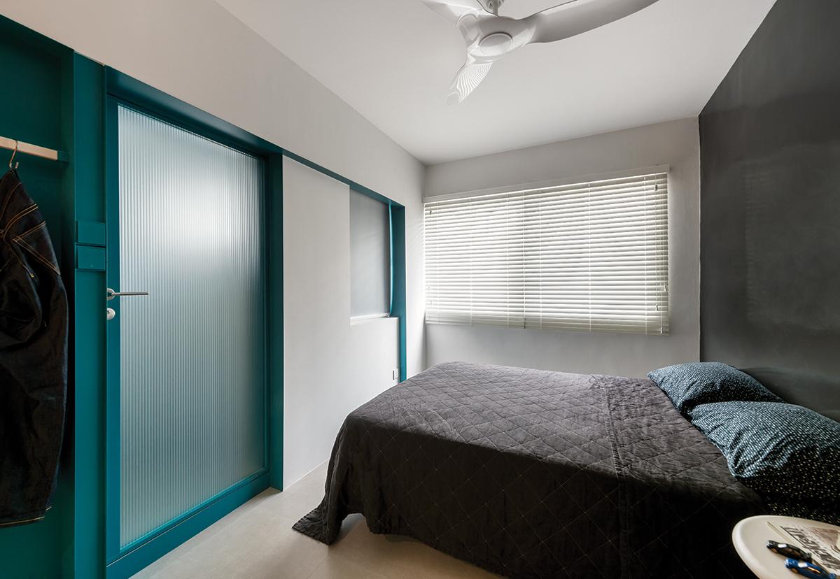 squarerooms artistroom 3 room hdb flat resale renovation urban edge colour space interior design bedroom dark grey