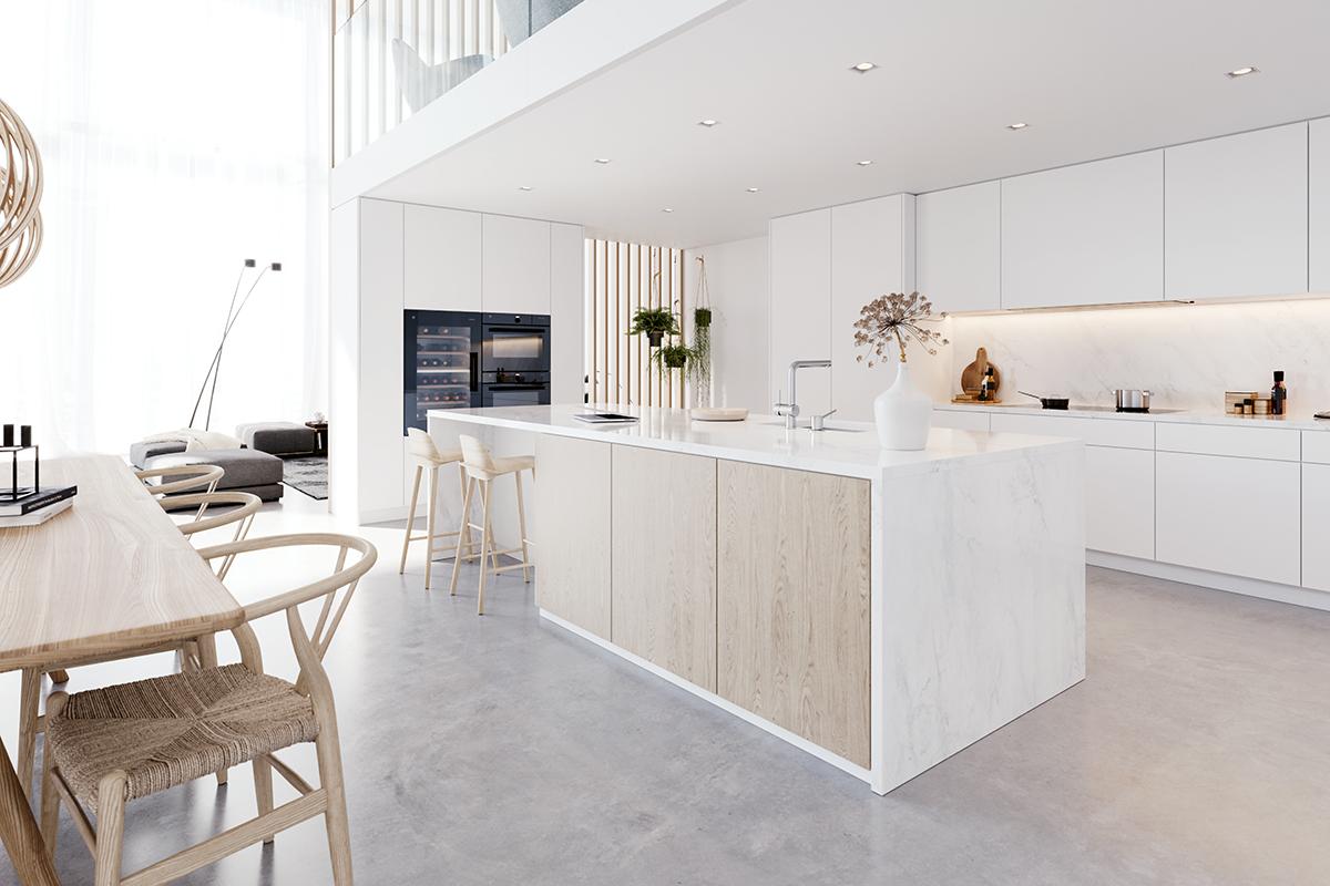 squarerooms vzug marble modern luxury kitchen counter island
