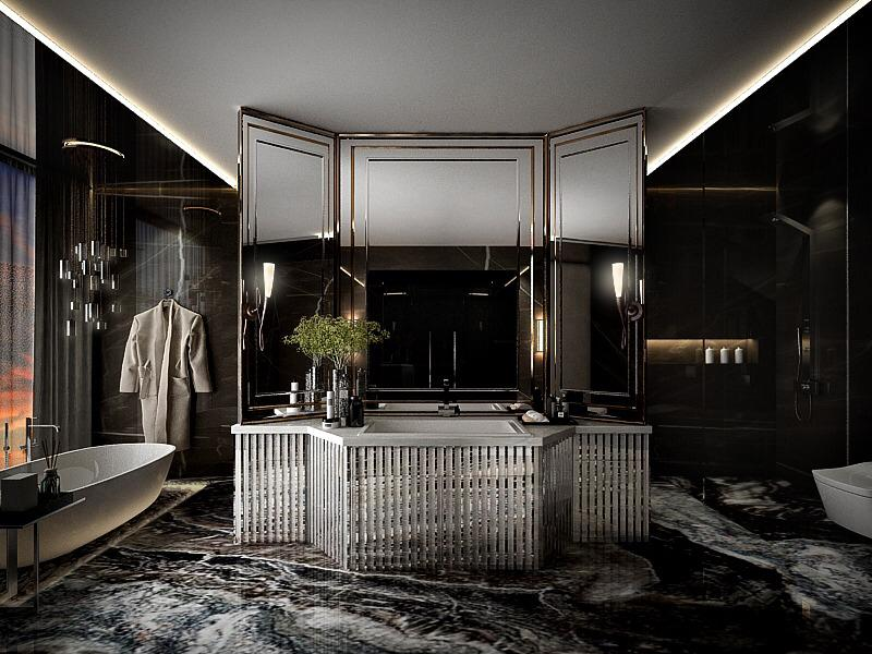 squarerooms singapore carpentry black dark luxury spa bathroom home