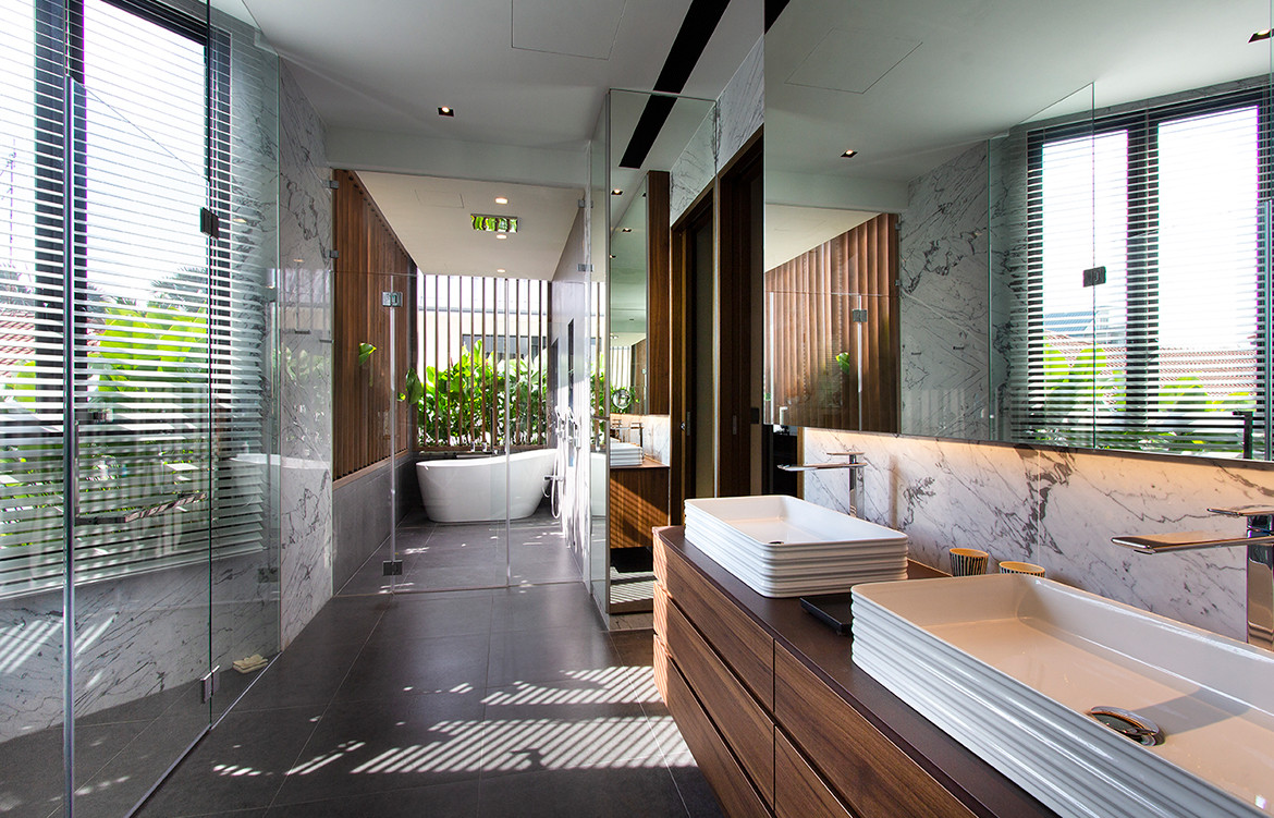 squarerooms aamer architects frankel house spa bathroom home