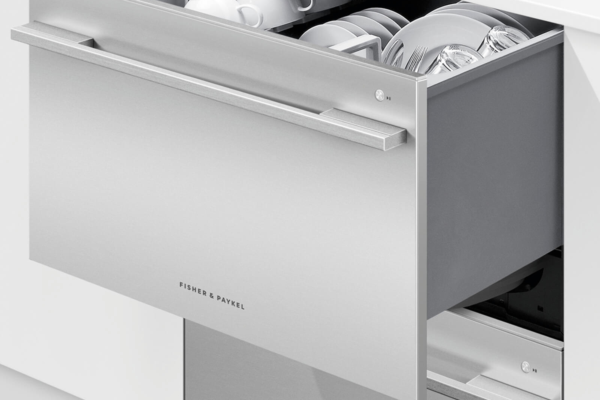 squarerooms fisher and paykel integrated kitchen appliance double dishwasher dishdrawer