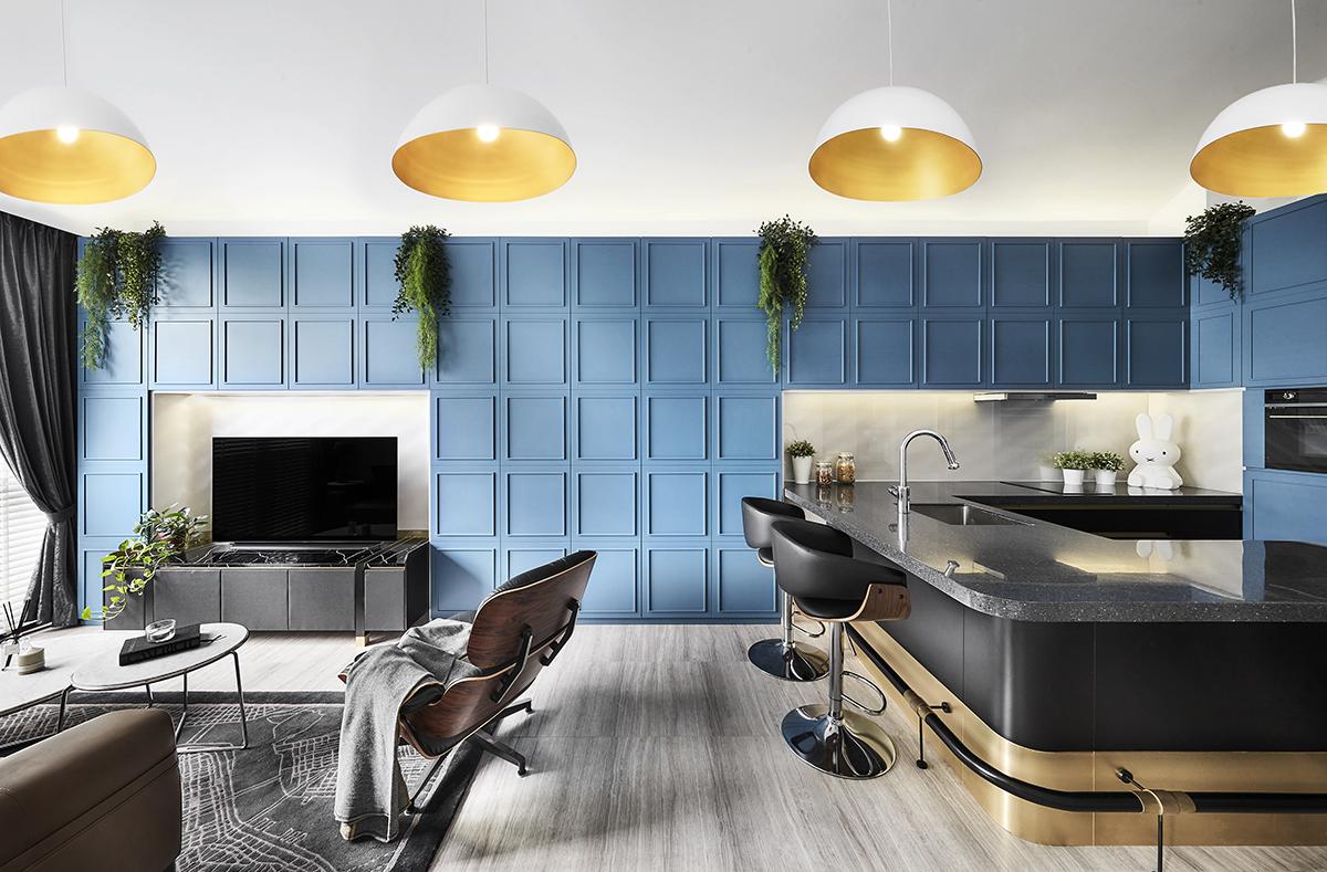 squarerooms akihaus blue contemporary interior design condo renovation living room feature wall open space