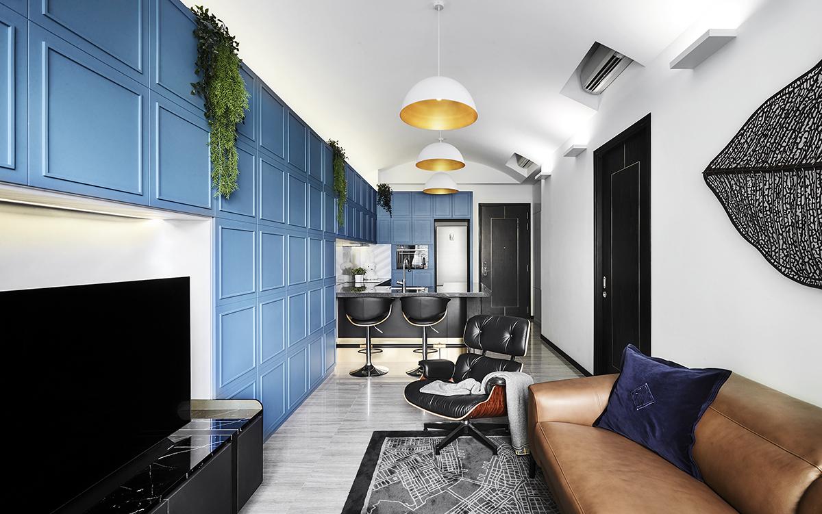 squarerooms akihaus blue contemporary interior design condo renovation living room feature wall kitchen bar counter