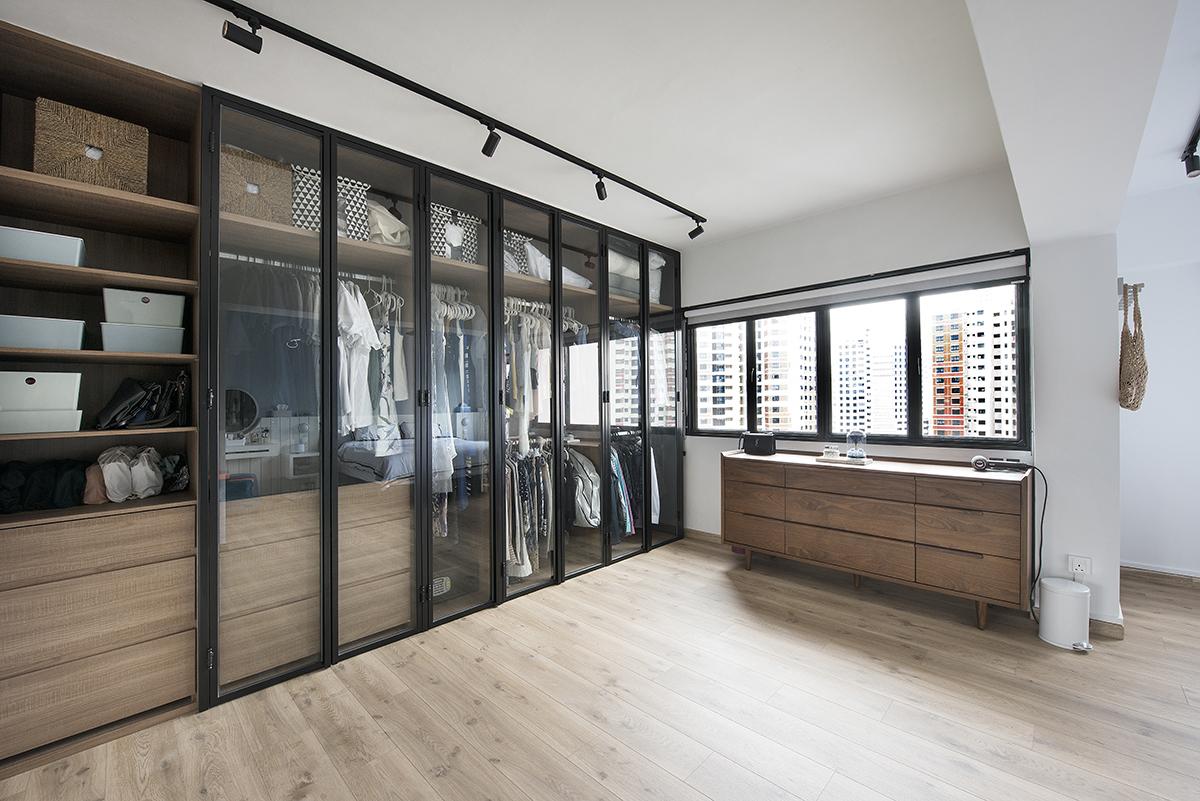 squarerooms design neu home renovation 5 room resale hdb minimalist walk in wardrobe