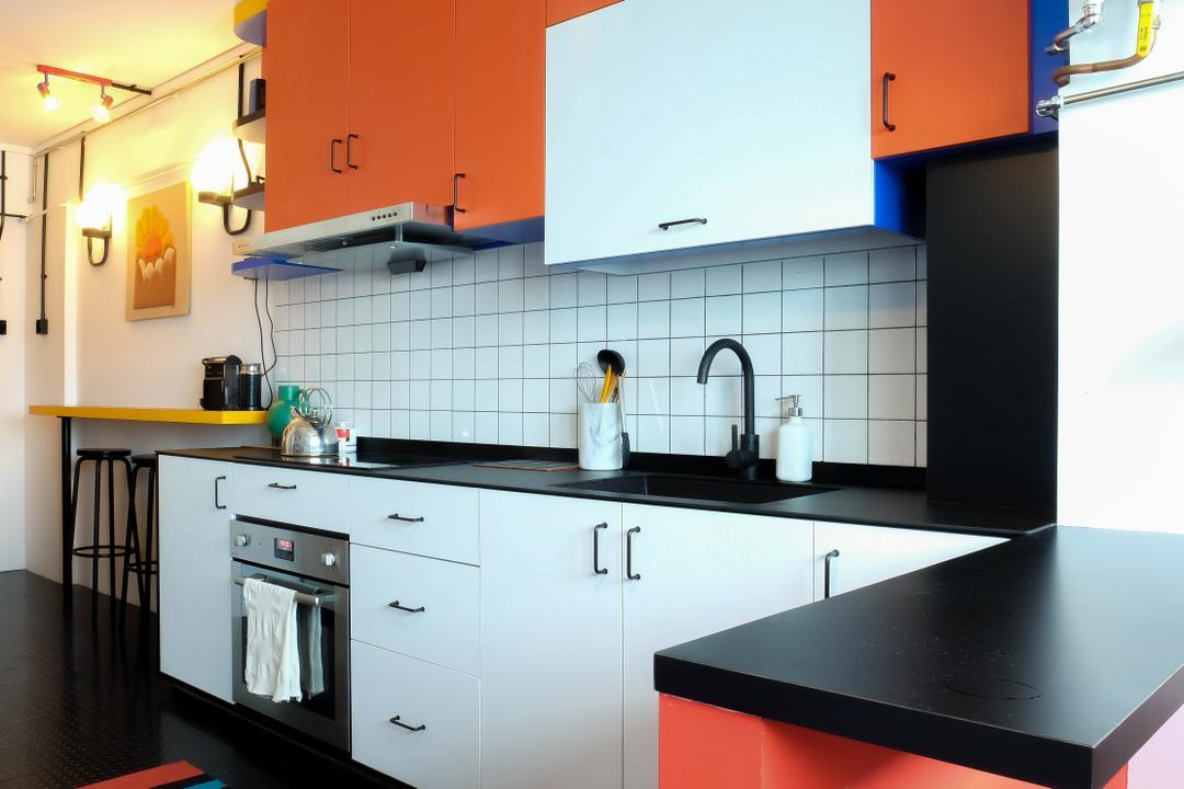 squarerooms fifth avenue interior orange light blue kitchen design