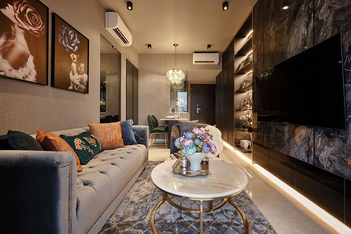 squarerooms mr shopper studio instagrammable hollywood glam condominium renovation home inspo living room
