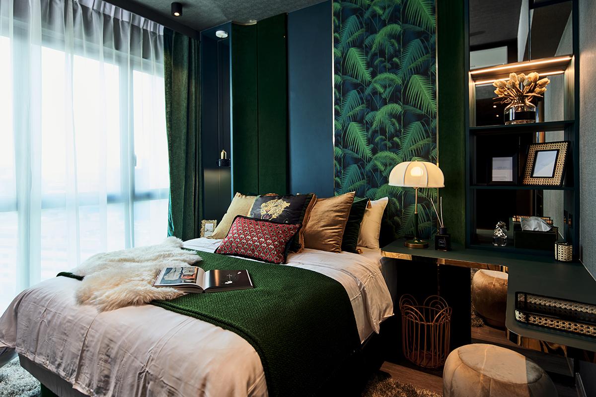 squarerooms mr shopper studio instagrammable hollywood glam condominium renovation home inspo bedroom jungle aesthetic green
