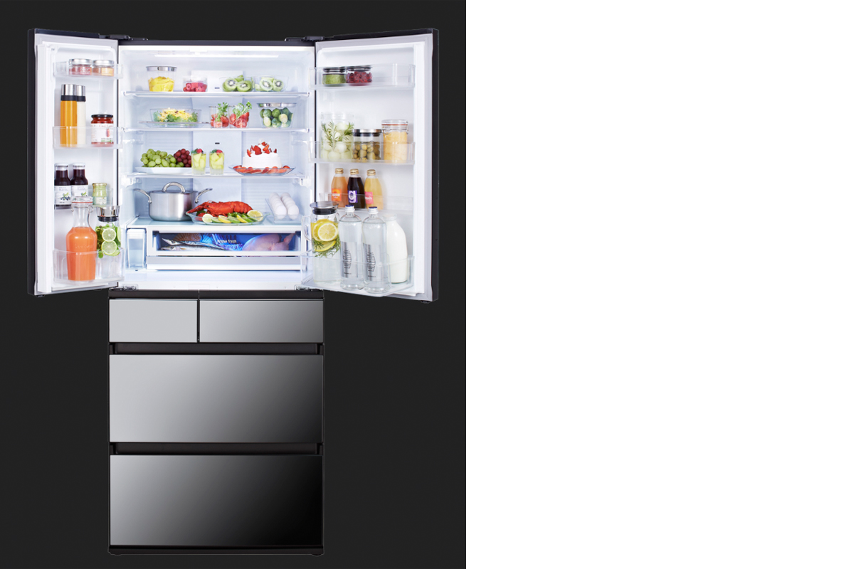 squarerooms Panasonic NR-F654GT-X6 open fridge