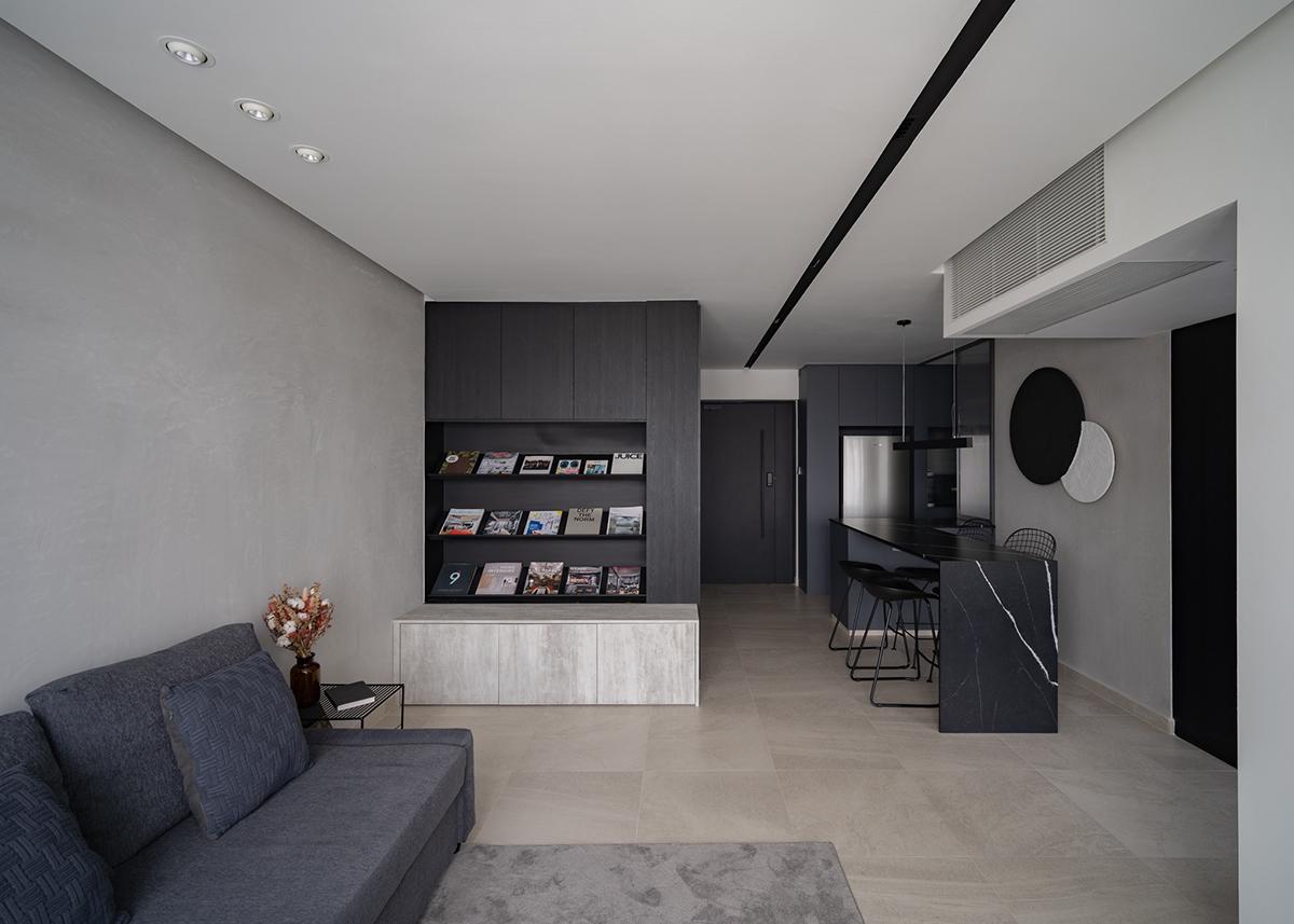 squarerooms arche dark black home hdb renovation bto living room