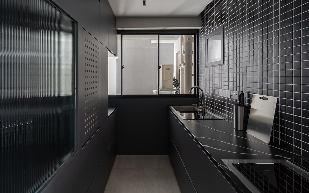 squarerooms arche dark black home hdb renovation bto kitchen