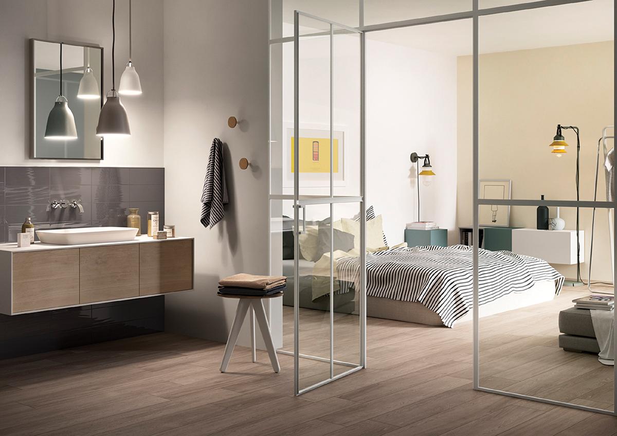 squarerooms open concept bathroom bedroom combo clear glass doors hafary floor tiles