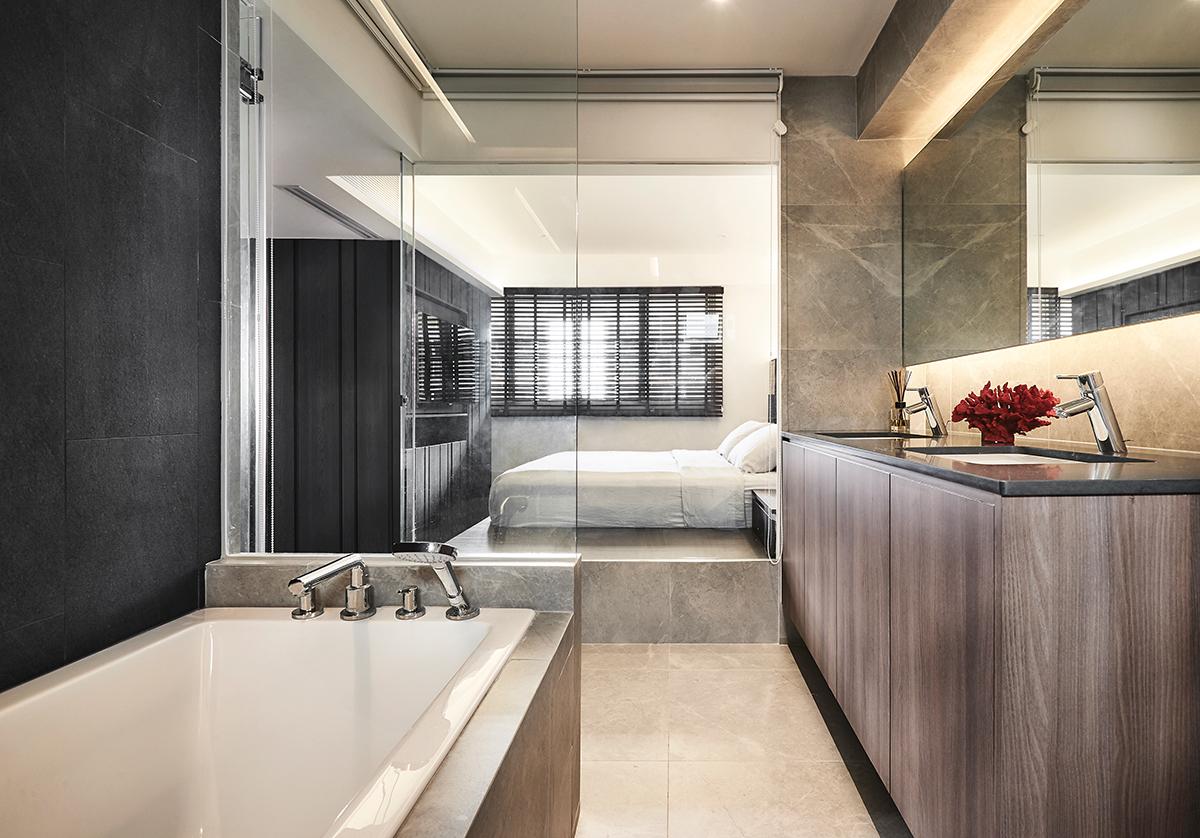 squarerooms open concept bathroom bedroom combo icon interior design