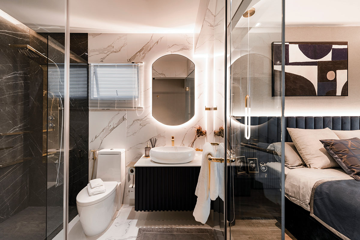 squarerooms open concept bathroom bedroom combo mr shopper studio