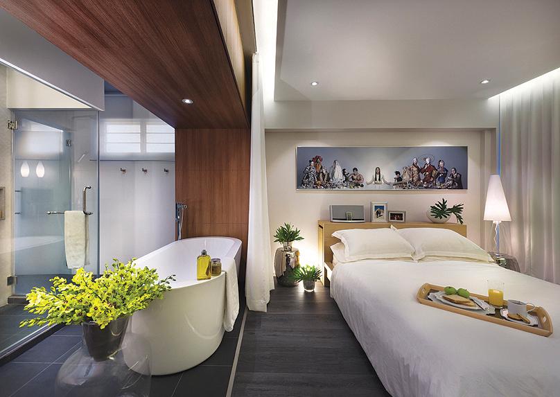 squarerooms open concept bathroom bedroom combo Three-D Conceptwerke